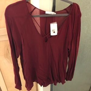 New with Tags — Lush Long Sleeve Maroon Blouse